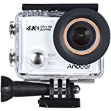 4K Action Camera, Andoer AN100 WIFI Sports Action Video Camera 30MP 1080P/120fps 2.0 IPS Screen 170° Wide Angle Waterproof 45m cam Support Gyro G-sensor FPV External Mic with Hard Case (White)