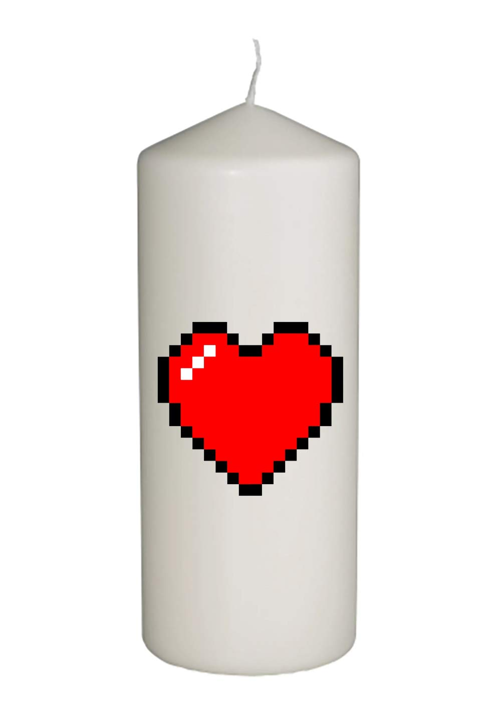 Hat Shark 8-Bit Heart Video Game Thick White in Full Color Unity Candle - Wedding, Baptism, Funeral, Special Event Decoration (6 inches Tall)