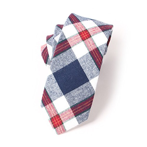 Plaid Jacquard Skinny Necktie Cotton Tie (02) (Plaid Narrow Tie)