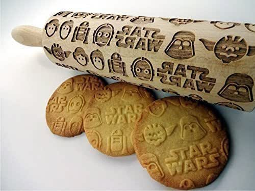 Embossing rolling pin Star Wars. Wooden embossing rolling pin with Star Wars pattern