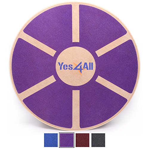 Yes4All B62R  Wooden Wobble Balance Board – Exercise Balance Stability Trainer 15.75 inch Diameter (Special Sales) (Purple)