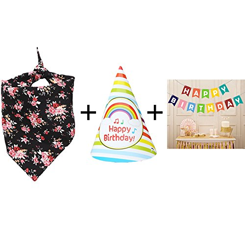 BUYITNOW Dog Birthday Set, Bandana Triangle Bibs Scarf/Birthday Hat/Cartoon Happy Birthday Banner Bunting for Pets Animals