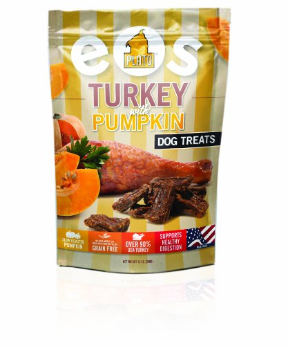 Plato Treats EOS- Grain Free Turkey and Pumpkin Dog Snack, 12-Ounce Bag