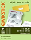 QwikStik by Compulabel Mailing Labels for Laser and Inkjet Printers, 1 x 2.625 Inches, White, 34 Sheets per Box (30 Labels per Sheet) (320117), Office Central