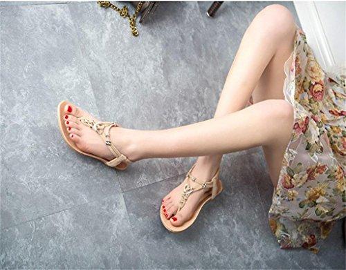 Sandalias Chanclas Chancletas Zapatos Planos Sandalia Flip Flop Corazón Boho Verano Playa Para Mujer Beige