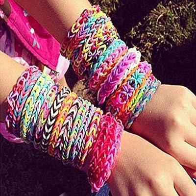 LANDUM Rubber Bands, 600PieceS Rainbow Mega Refill Loom Rubber Bands DIY Bracelets Bands Party Favor Art Crafts for Girls - 15#: Toys & Games