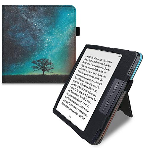 kwmobile Case Compatible with Kobo Libra H2O - PU Leather Cover with Magnet Closure, Stand, Strap, Card Slot - Cosmic…