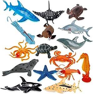 Plastic Ocean Animals Figure Sea Creatures Dolphin Turtle  Model Toys #ss