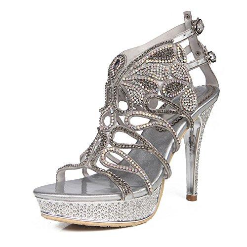 CAI Zapatos de Mujer Súper Tacones Altos Sandalias de Diamantes de imitación PU Primavera y veranoNuevas Sandalias (tamaño : 43)