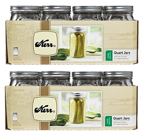 Kerr Wide Mouth Quart Glass Preserving Jars 32oz (2 Pack) Made in - Wide Kerr Mouth