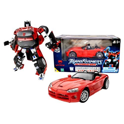 Hasbro Year 2003 Transformers Alternators Series 7 Inch Tall Robot Action Figure - Autobot SIDE SWIPE with Blaster (Vehicle Mode - 1:24 Scale Red Dodge (Autobot Sideswipe)