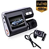 Lightinthebox i1000 HD 1080P Dual Lens Camcorder Car DVR Dash Cam Black Box With Rear View Camera Motion Detection Night View Auto-Start Digital Video Recorder