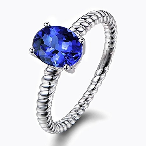 Exclusive 1.37ct Class Natural Tanzanite Ring 14K White Gold Twist Minimalist Star Models Wedding Band by Kardy