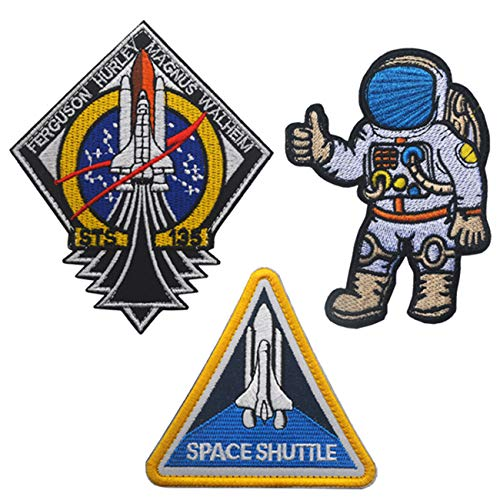 Military Ba 3 Pcs Blue Logo USA Flag Space Shuttle Jacket DIY Embroidered Halloween Costume Badge Set of 3 Easy Patch
