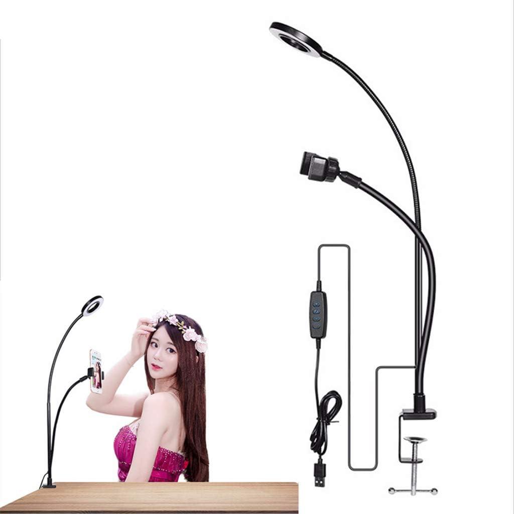HULYZLB Fill Light Mobile PhoneLED Desktop Ring Light with Clip /& Phone Holder for YouTube Video//Makeup Adjustable Selfie Fill Light