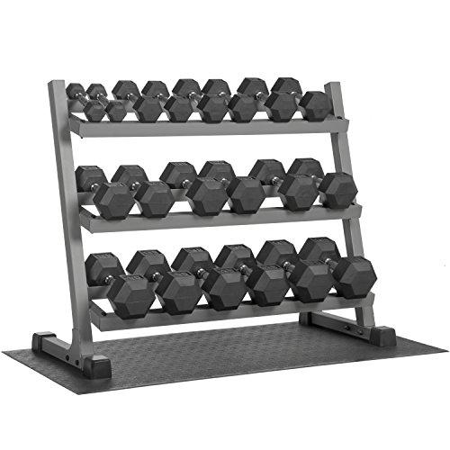 XMark 550 lb. Set Hex Dumbbell Set and Dumbbell Rack, 3 Tier Dumbbell Rack with 5-50 Dumbbell Set, FREE Mat with purchase of 5 lb. to 50 lb. Dumbbell Set & Three Tier Dumbbell Rack and Mat Option
