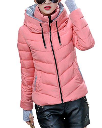 Doudoune Courte Femme Manteau Manche Longue avec Capuche Manteau Parka Blouson Zippe pink