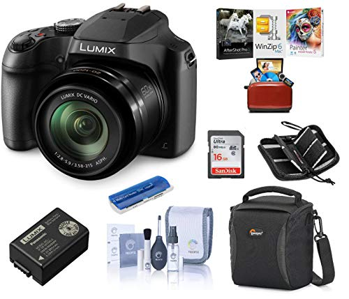 Panasonic Lumix DC-FZ80 Digital Point & Shoot Camera – Bundle with 16GB SDHC Card, Camera Bag, Cleaning Kit, Memory Wallet, Card Reader, Mac Software Package