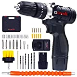 GOXAWEE Cordless Drill Kit with 2Pcs Batteries, 2-Speed 3/8' Keyless Chuck Electric Screwdriver with Hammer Function, Compact Home Drill Set with 265In-lbs, 18+3 Position, LED, 100pcs Accessories