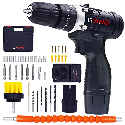 GOXAWEE Cordless Drill Kit with 2Pcs Batteries, 2-Speed 3/8″ Keyless Chuck Electric Screwdriver with Hammer Function, Compact Home Drill Set with 265In-lbs, 18+3 Position, LED, 100pcs Accessories