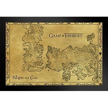 Amazon.com: Game Of Thrones Antique Map Westeros TV Show Framed ...