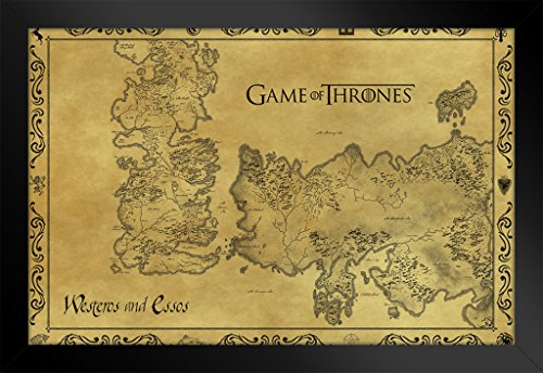 Game Of Thrones Antique Map Westeros Tv Show Framed Poster Inch