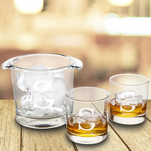 (Personalized Ice Bucket with set of 2 Lowball Glasses)