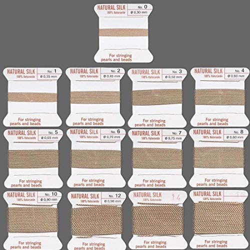 Griffin Silk Cord Beading Knotting Jewelry Bead Thread Attached Needle Beige (#7 -
