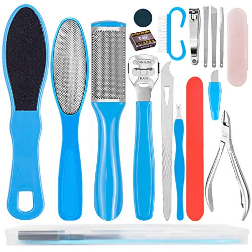 Stainless Steel Pedicure Kit Professional Exfoliation Calluses 17 Pcs Foot File Set For Women And Men At Home Or Travel…