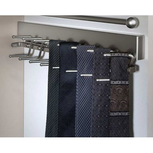 Brushed Satin Chrome Deluxe Sliding Tie Rack