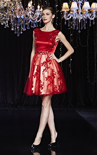 Ansatz Beauty O Rot Rückenfrei Stickerei Cocktail Spitze Emily Abendkleid Applique Zwr4qZE