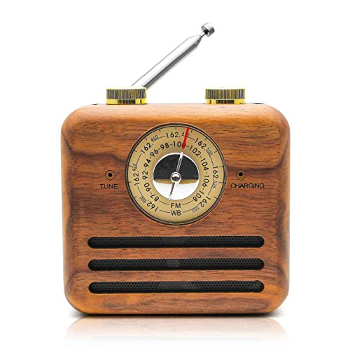 Retro Speaker Radios, Wireless Bluetooth Speaker with Wood FM/WB Radio, Natural Walnut Material, Loud Clear Sound for Home, Office, Travel