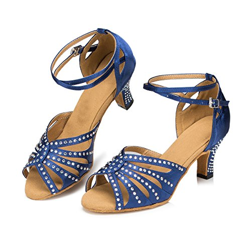 Miyoopark Femmes Bracelet De Cheville Cristaux Satin Latin Tango Salsa Chaussures De Danse Mariage Sandales De Mariage Bleu Marine-6cm Talon