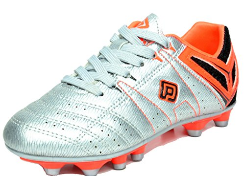 DREAM PAIRS 160471-M Men's Sport Flexible Athletic Lace Up Light Weight Outdoor Cleats Football Soccer Shoes SILVER ORANGE BLK SIZE 8 - Silver Soccer Cleats