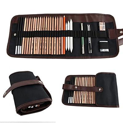 18PCS Sketch Pencils Charcoal Extender Eraser Paper Pen Cutter Drawing Set Bag