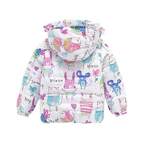 Jlong Baby Girls Winter Warm Soft Cotton Butterfly Long Sleeves Coat Jacket (2-3 Years, Printed White) by Jlong (Image #1)