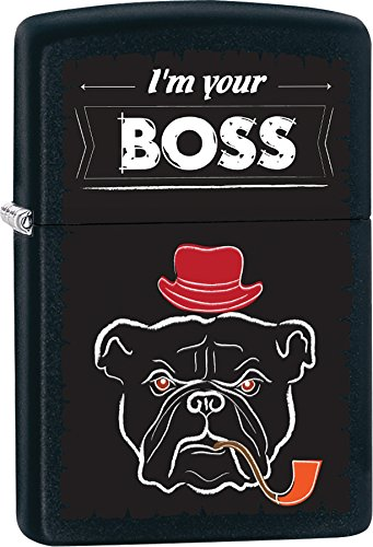 Zippo Personalized Message Engraved on Backside I am Your Boss Bulldog Windproof Zippo Lighter ()