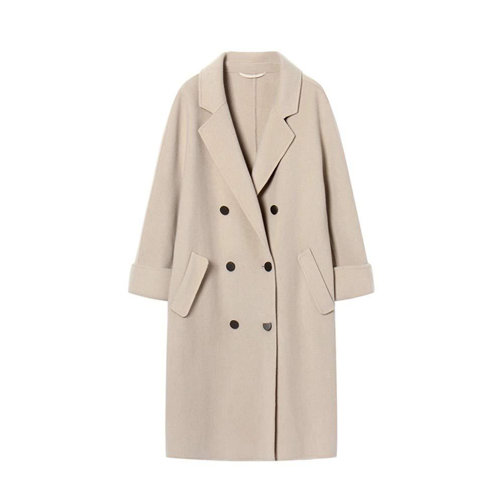 QZHE Frauen Trenchcoat Damen Winter Langen Mantel Zweireihig Lose Mantel Langärmeligen Volltonfarbe Taschenmantel