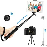 ohCome Selfie Stick with Bluetooth Remote, 14-59 Handheld Aluminium Monopod with Tripod Stand and 2-in-1 Clip Holder Mount for 3.5-10 iPads, Tablets, iPhone, Android Phones, and Gopro Cameras