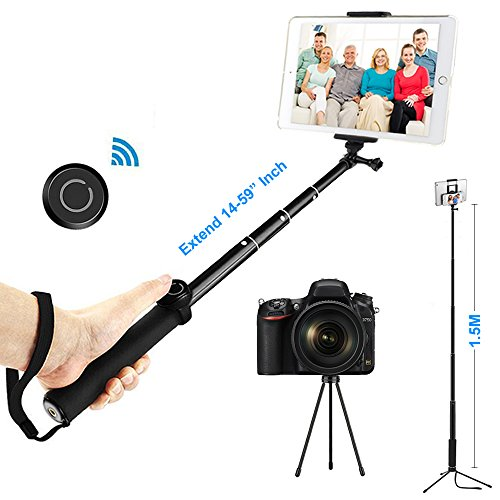 ohCome Selfie Stick with Bluetooth Remote, 14-59'' Handheld Aluminium Monopod with Tripod Stand and 2-in-1 Clip Holder Mount for 3.5-10'' iPads, Tablets, iPhone, Android Phones, and Gopro Cameras by ohCome