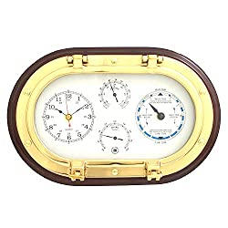 Time Factory AJ-SQB579 Lacquered Brass Oval Porthole Quartz Tide and Time Clocks, Thermometer and Hygrometer on Mahogany Wood
