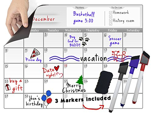 Magnetic Dry Erase Calendar Set - Fridge Monthly Whiteboard Organizer & 3 Colored Magnetic Markers & 1 Magnetic Eraser, Useful Smart Planner (16''x12'')