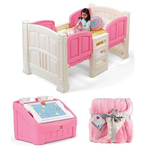 (Step2 Loft Twin Bed with Storage, Step2 2-in-1 Art Toy Box, Parent's Choice Royal Plush Blanket, Pink, Kids Bed, Kids Furniture, Toys Storage Organizer, Kids Blankets)
