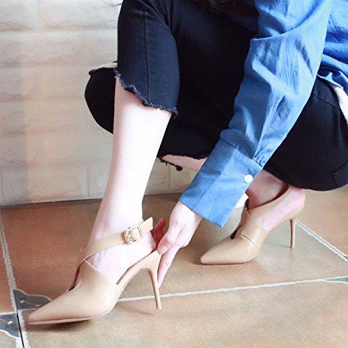 Beige Zapatos Zapatos Vacío Sandalias Superficial Finas con Xue expuesta Qiqi Boca Atar sugerencia de ranurada y Zapatos Tribunal Zapatos 36 Tacón Cruz Solo qxcBPAcaw
