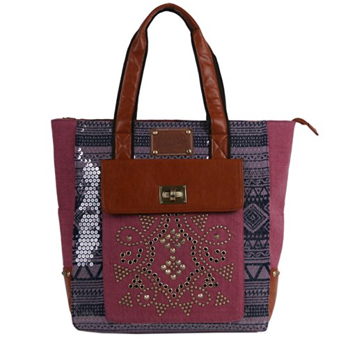 nicole-lee-iyanna-tribal-canvas-sequence-print-tote-red-one-size