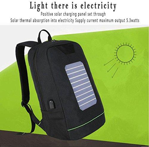 WYXIN Rucksack Solarbetriebene Rucksack Usb Aufladung Diebstahl 16 Zoll Laptop Rucksack für Männer Frauen Laptop Tasche Sport Klettern Green gPoV6