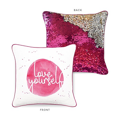 Mermaid Pillow Co Uplifting Collection – CONFIDENCE – Inspiring and Motivational Accent Pillow with Premium Quality Reversible Color-Changing Mermaid Sequins