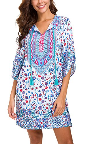 Women Bohemian Neck Tie Vintage Printed Ethnic Style Summer Shift Dress (XL, Pattern 17) (Dress Combo Material)