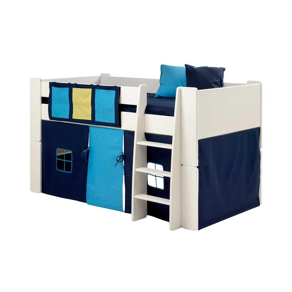Pharao24 Halbhochbett in Weiß Blau Vorhang