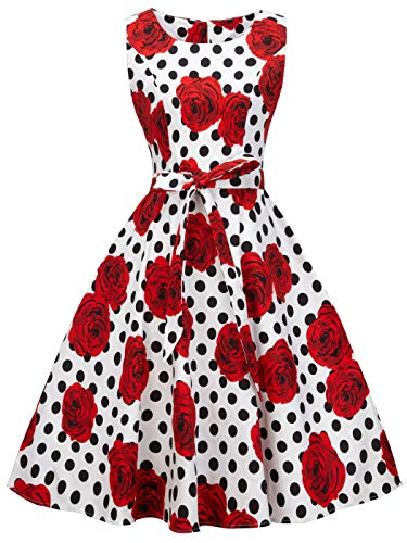 (FAIRY COUPLE 50s Vintage Retro Floral Cocktail Swing Party Dress with Bow DRT017(2XL, Red Flower White Black)